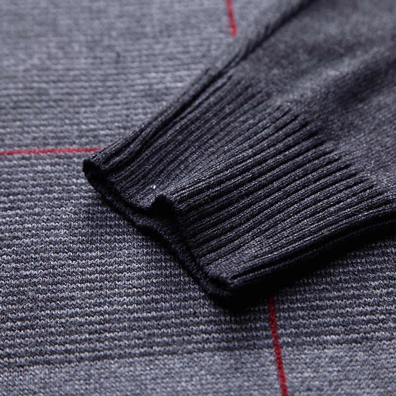 2020 지퍼 두꺼운 따뜻한 겨울 스트라이프 니트 당겨 스웨터 남자 착용 저지 망 풀오버 니트 남성 스웨터 남성 패션 93003