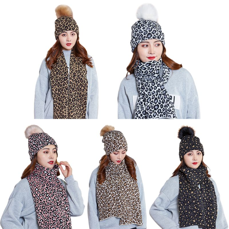 Women Scarf Hat 2Pcs Set Leopard Print Knitted Cuffed Beanie Cap With Long Wraps