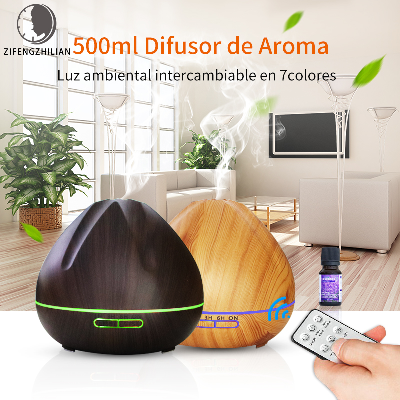 500ml Remote Control Ultrasonic Humidifier Aroma Oils Diffuser With Wood Grain 7 Color Change LED Lights For Bedroom Living Room