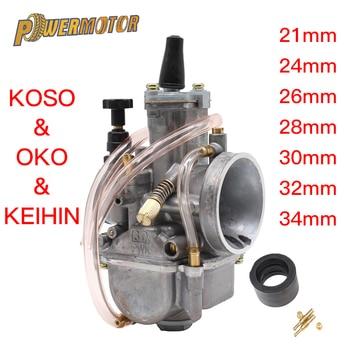 Carburador de carreras Universal para motocicleta 2T y 4T con Power Jet, Carburador Koso OKO de 21, 24, 26, 28, 30, 32mm, 50CC-250CCPit