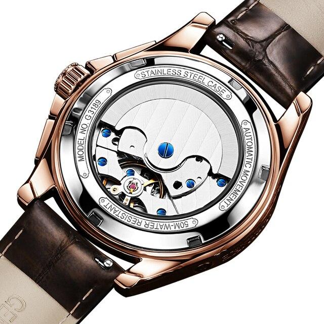 OUPINKE Men Mechanical Watch Luxury Automatic Watch Leather Sapphire Waterproof Sports Moon Phase Wristwatch Montre homme 3