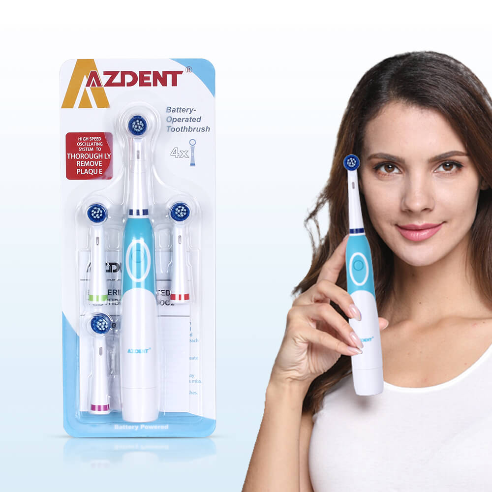 Rotating Electric Electric Toothbrush No Rechargeable With 4 Brush Heads Dental Care Teeth Brush Oral Hygiene Tooth Brush