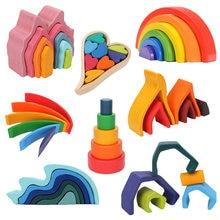 Blocos de madeira do arco-íris empilhamento de madeira brinquedos grims arco-íris blocos de construção de madeira crianças montessori brinquedo educacional