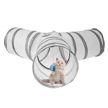 Трехполосная игрушка-туннель для домашних животных с маленькими шариками, 3 отверстия для кошек, кроликов, животных, тоннель