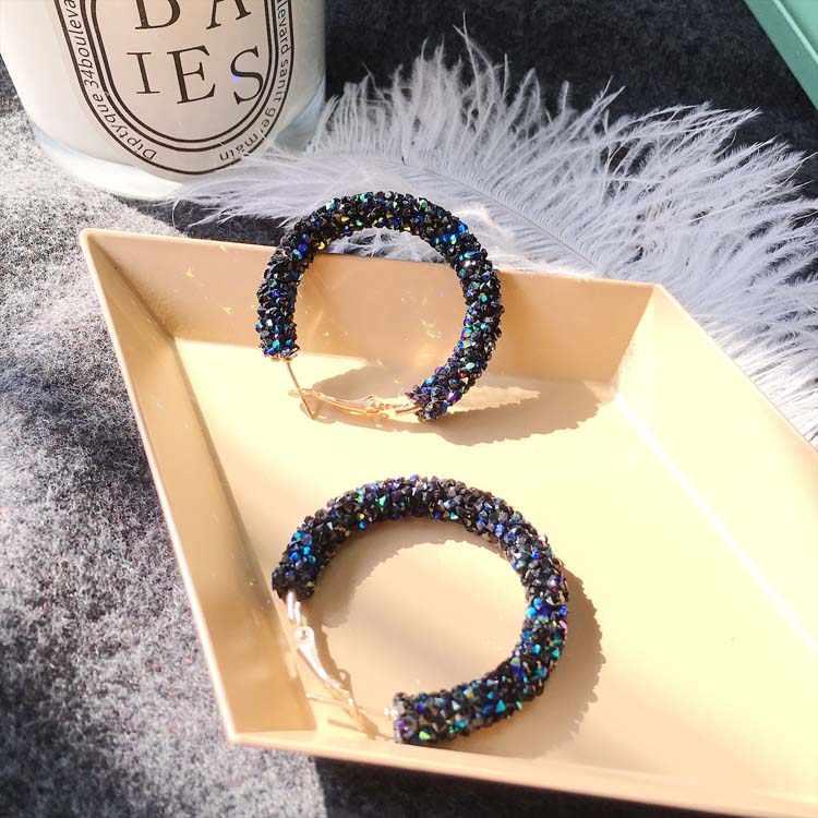 עגילי קסם ורוד כחול שחור לבן צבעים מט המעגל מבריק קריסטל גדול עגילי תכשיטים נשים של עיצוב חדש