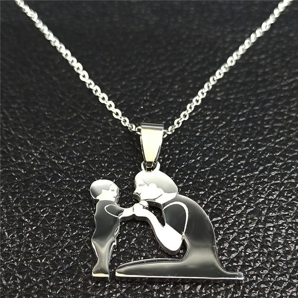 Mom Daughter Stainless Steel Chain Necklace Silver Color Necklaces Pendants Jewelry mujer Mother's Day Christmas Gift N539S01 24