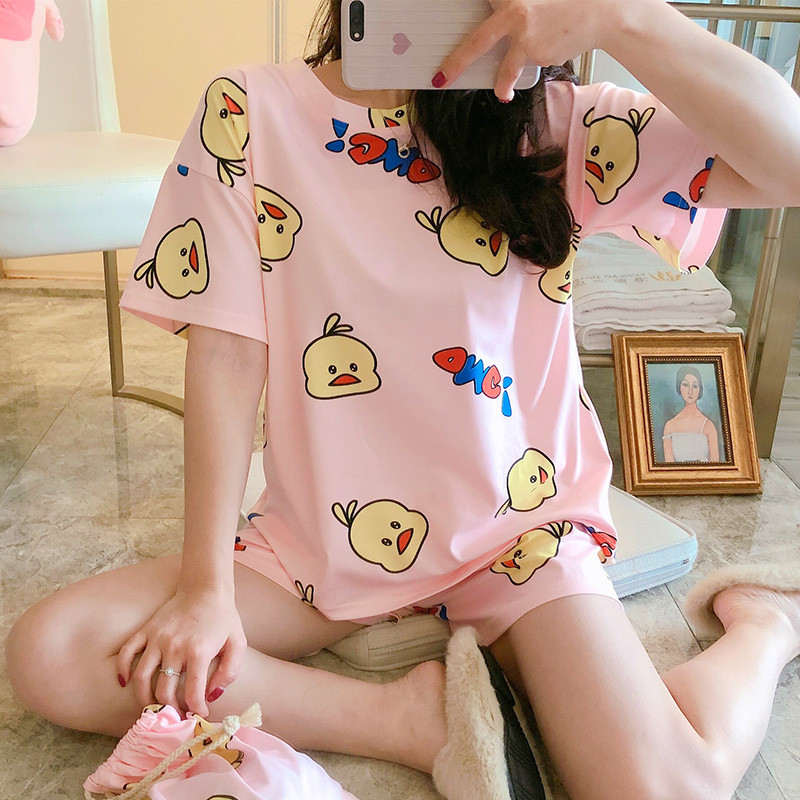 Women's Pajamas Set 2020 Summer Cute Cartoon Little Yellow Duck Print Short Pajamas Girls Comfortable Home Clothes