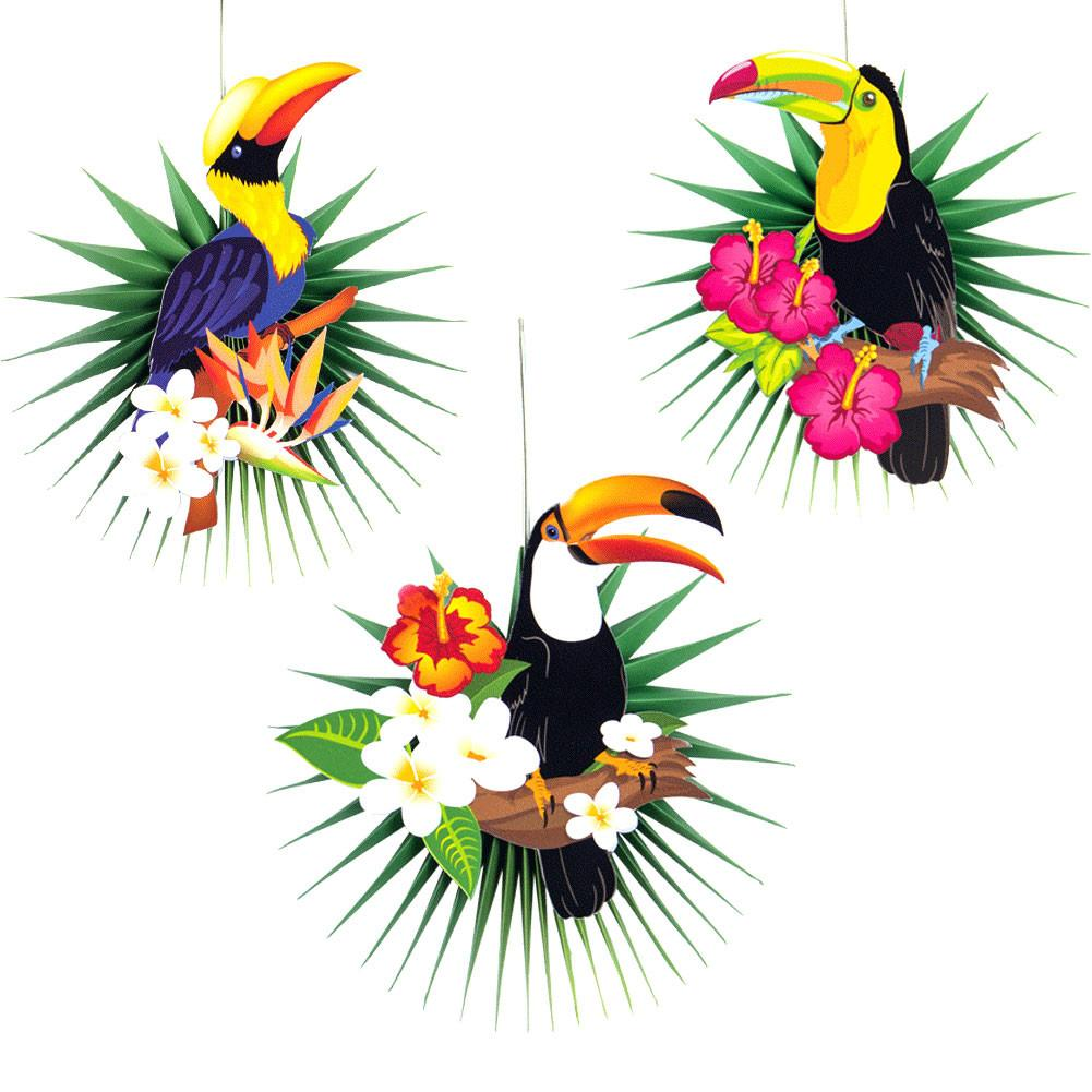 3PCS Toucan Honeycomb Party Paper Ornament Innovative Festival Decorations
