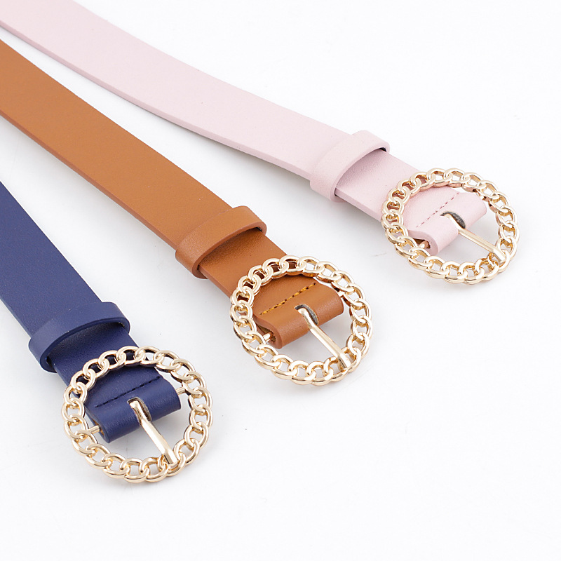 2020 New Designer Women's Hollow Out O Ring Round Buckle Belt Female Adjustable Black White Brown Leather Waist Belts for Women 6