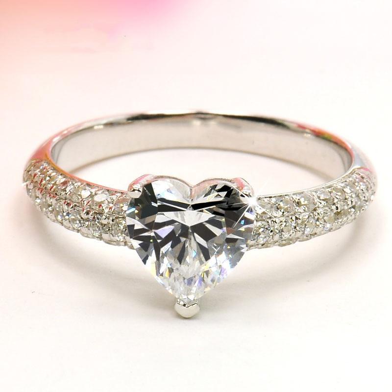 Heart Rings For Women Bridal Wedding Fashion Jewelry Engagement Ring Cubic Zirconia Elegant Anel Bijoux Femme CC048 4