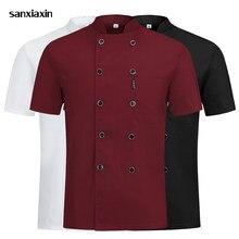 3 cores de alta qualidade duplo breasted chef uniforme restaurante do hotel cozinha catering jaquetas cozinhar café workwear chef roupas