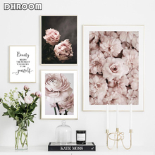 Flowers Canvas Art Poster Nordic Style Pink Peonies Decorative Print Wall Painting Scandinavian Decoration Picture Home Decor
