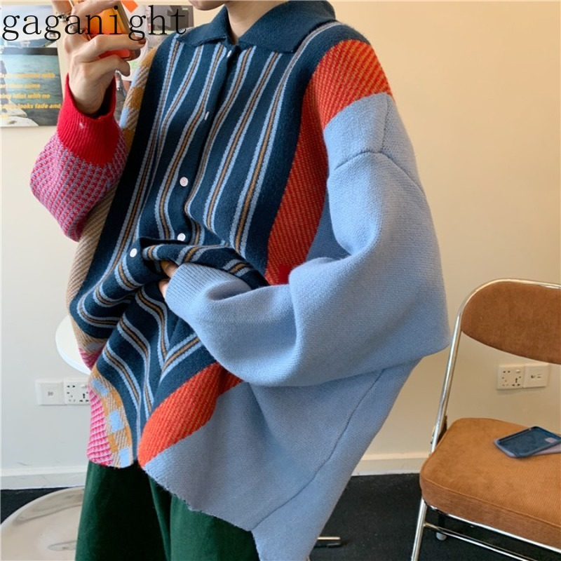 Gaganight Patchwork Knitted Women Sweater Single Breasted Vintage Cardigan Outwear Chic Spring Autumn Jumper Loose Pull Femme