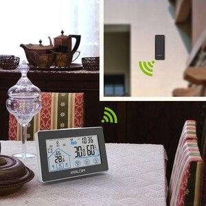 Image 5 - Baldr Draadloze Weerstation Touch Screen Thermometer Hygrometer Indoor Outdoor Weerbericht Sensor Kalender 3 Ch