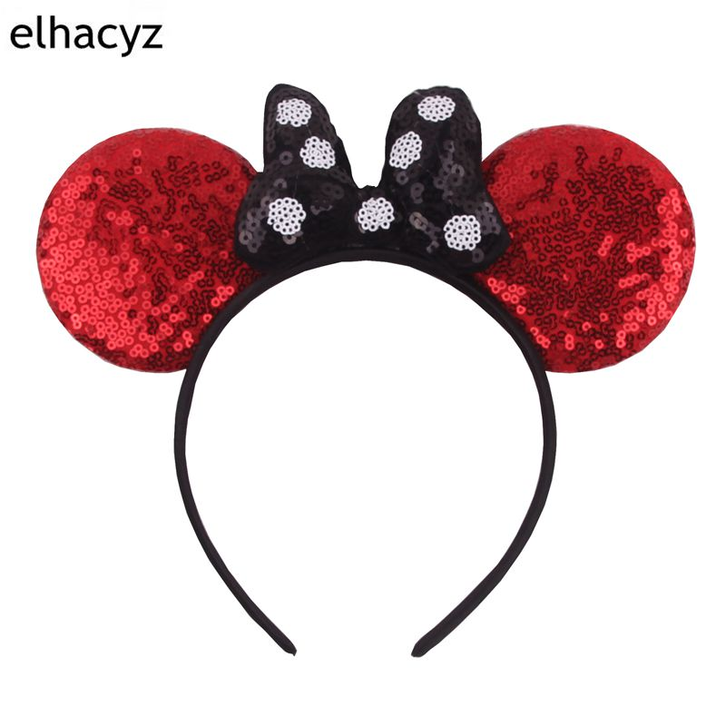 1PC Hair Style Classical Dot Sequins Minnie Bow Mouse Ears Kids Girl Hairband DIY Accessories