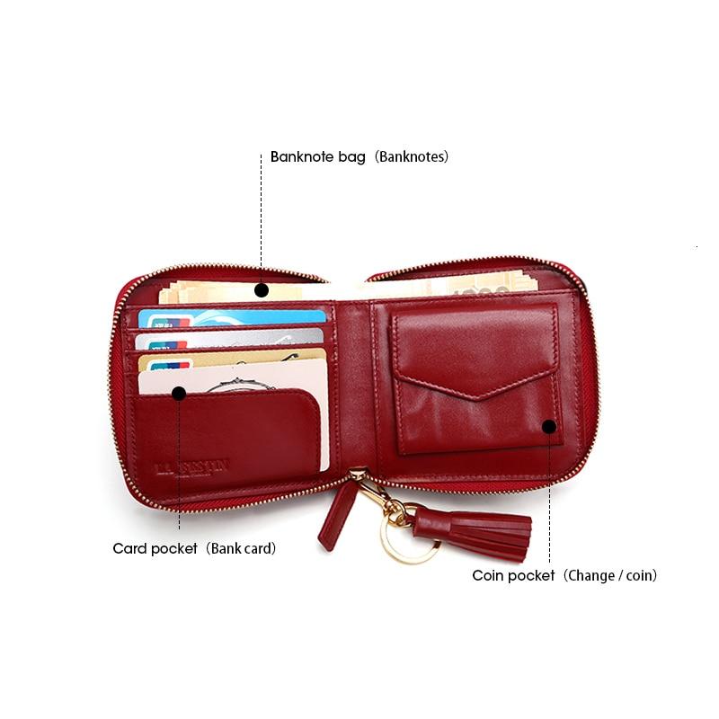 Women Wallets Genuine Leather Fringe Lady Purses Coin Credit Purse Portefeuille Femme Carteira Feminina Wallet Billetera Mujer