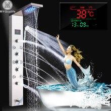 Paslanmaz çelik LED ışık duş paneli musluk duvara monte SPA masaj sistemi duş başlığı seti sistemi dijital sıcaklık ekran