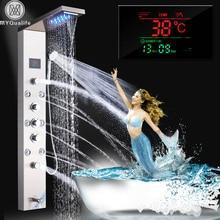 Sistema de masaje SPA montado en la pared con Panel de luz LED ligera con grifo, columna de ducha, pantalla Digital de temperatura, acero inoxidable