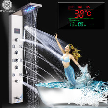 Stainless Steel LED Light Shower Panel Faucet Wall Mounted SPA Massage System Shower Column System Digital Temperature Screen