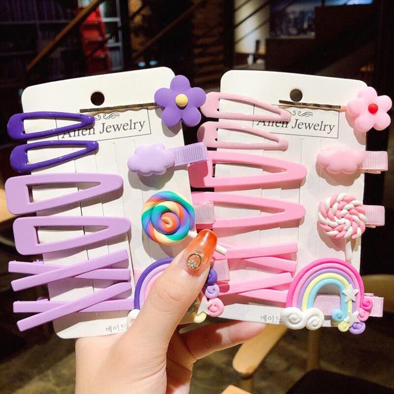 1Set Women Girls Cute Flowers Fruit Hair Clips Sweet   Headwear   Hair Ornament Rainbow Lollipop Hairpins Barrettes Hair Accessories