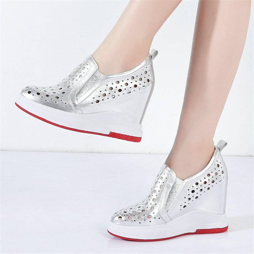 Fashion Sneakers Women Genuine Leather High Heel Roman Gladiator Sandals Female Summer Wedges Platform Pumps Breathable Trainers