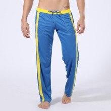 купить spring autumn men sweatpants drawstring stripe printed wide leg sport pant jogger casual running fitness workout pant sportswear по цене 1065.21 рублей