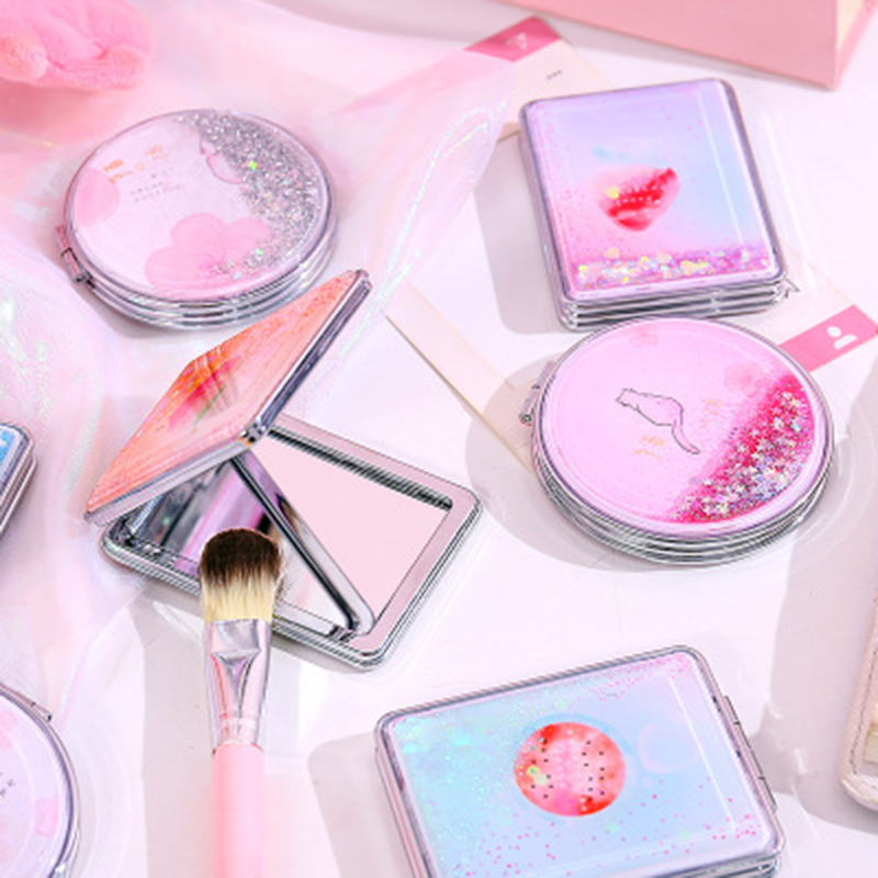 Mini Makeup Mirror Compact Pocket Mirror With Flowing Sparkling Sand Portable Double Sided Folding Cosmetic Mirror Female Gifts Makeup Mirrors Aliexpress