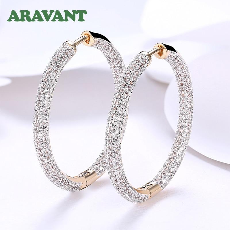925 Silver 34mm 18K Gold Circle Hoop Earrings For Women Fashion Wedding Jewelry