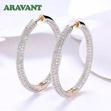 925 srebro 34mm 18K złote koło Hoop kolczyki dla kobiet moda biżuteria ślubna