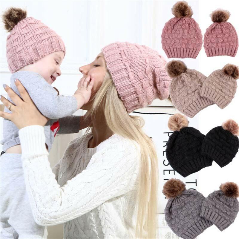 2pcs Mom Baby Beanie Hat Cap Knitted Warm Hat Newborn Baby Knit Soild Cotton Blend Women Warm Winter Hats