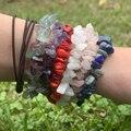 Нерегулярные натуральный браслеты из кристаллов браслеты для женщин и девушек, модное ювелирное изделие, розовое кварцевые аметистами для ...