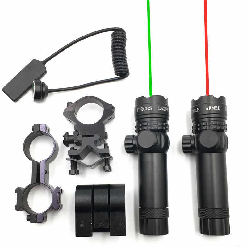 Mira con puntero de pistolas láser, interruptor remoto láser rojo/verde, juego de anillo de 25,4/30mm, interruptor de riel de 20mm para caza, mira láser