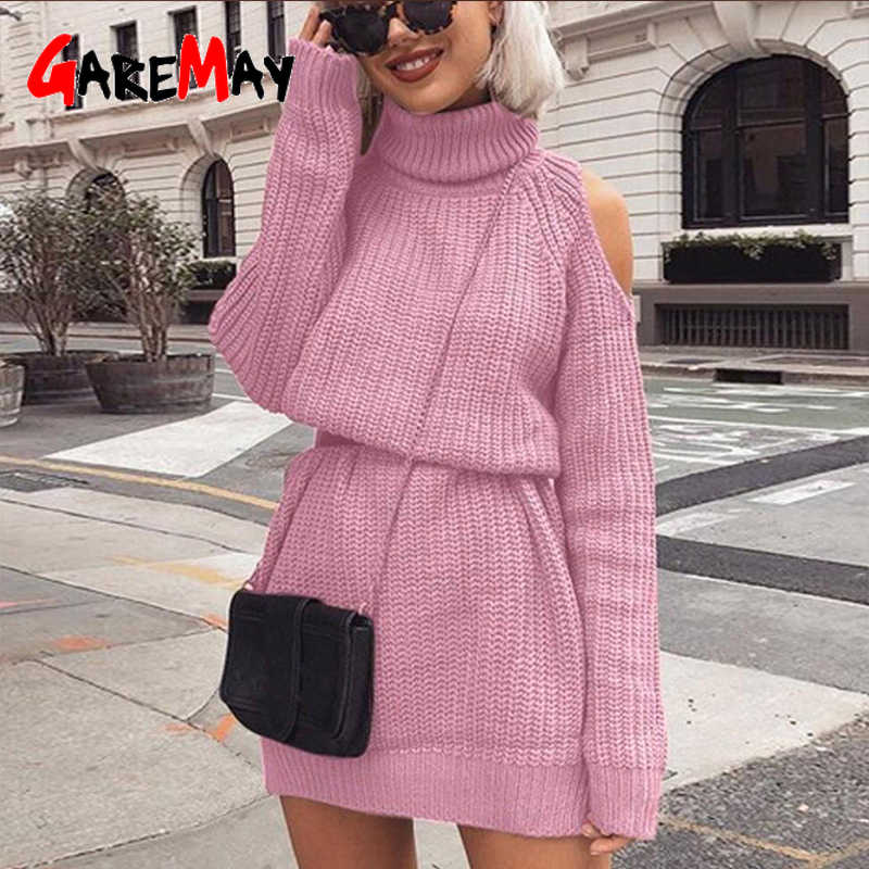 sweaters women Turtleneck off shoulder sweater Sweater Dress Slim long sweater women winter woman sweater knitting pullovers