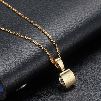 Classic 18K Yellow Gold long Pendant with 1carat round moissanite stone Gold Chain long Necklace Gift For Women in Fine Jewelry 4