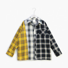Plaid Women Blouse and Shirts Fashion Korean BTS Oversized Casual Spring Autumn Splice Tops