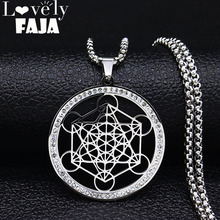 2019 Yoga Hindu Buddhism Flower of Life Crystal Stainless Steel Statement Necklace Women Silver Color Jewelry collares