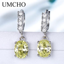 UMCHO Solid Silver 925 Jewelry Drop Created Apple Green Cubic Zircon Clip Earrings For Women Birthday Gifts Charms Fine Jewelry(China)