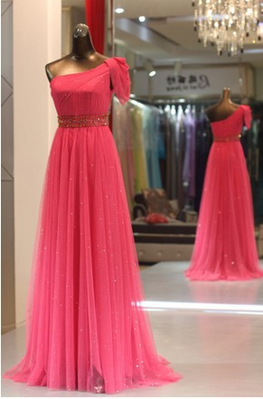 Real Sample 2018 New Fashion One Shoulder Candy Color Long Formal Chiffon Elegant Woman Party Prom Gown Bridesmaid Dresses