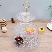 Три яруса торта стенд круглый поднос кекс подставка для десерта на день рождения Юбилей Свадебный декор(золотая ручка