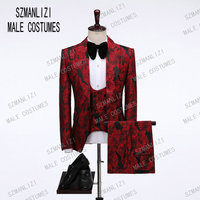 2019 Fashion Male Clothes Red Floral 3 Pieces Costume Slim fit Formal Design PromParty Suits Groom Tuxedos For Men Wedding Suits