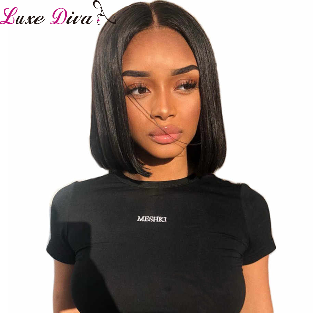 Luxediva Short Lace Front Human Hair Wigs Bob Wig For Black Women Brazilian Natural Remy Straight Lace Frontal Wig With Bangs