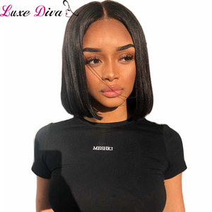 Luxediva Short Lace Front Human Hair Wigs Bob Wig For Black Women Brazilian Natural Remy Straight 4x4 Lace Wig For Black Women(China)