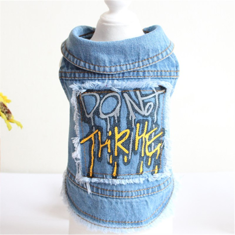 New Casual Graffiti Pattern Denim Dog Vest Spring Autumn Pet Clothing Cat Puppy Dog Clothes For Small Medium Dog Suppliers(China)