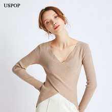 USPOP 2019 New autumn clothing for women knitted pullovers sexy v-neck criss-cross pullover  basic solid color sweaters