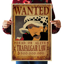 Decor Posters Paintings Wall-Stickers Wanted Trafalgar Law Anime One-Piece Vintage Kraft-Paper
