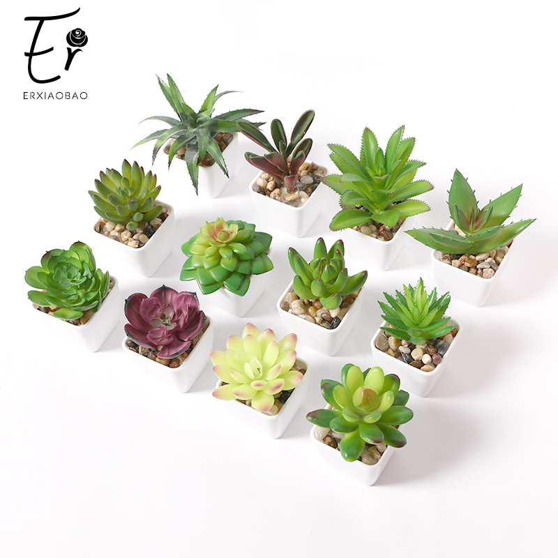 Erxiaobao 12 Pieces/Set Simulation Succulents Mini Bonsai Potted Green Artificial Plants In Pot Placed Home Table Decoration