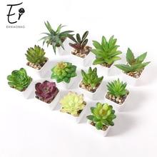 Erxiaobao 12 adet/takım simülasyon Succulents Mini Bonsai saksı yeşil yapay bitkiler Pot yerleştirilen ev masa dekorasyon