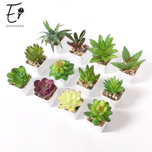 Erxiaobao Juego de 12 unidades de simulación de suculentas, Mini bonsái en maceta, plantas artificiales verdes, Decoración de mesa para el hogar