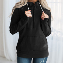 2019 Autumn Women Hoodie Casual Long Sleeve Hooded Pullover Sweatshirts Round Neck Solid Zipper 7.26