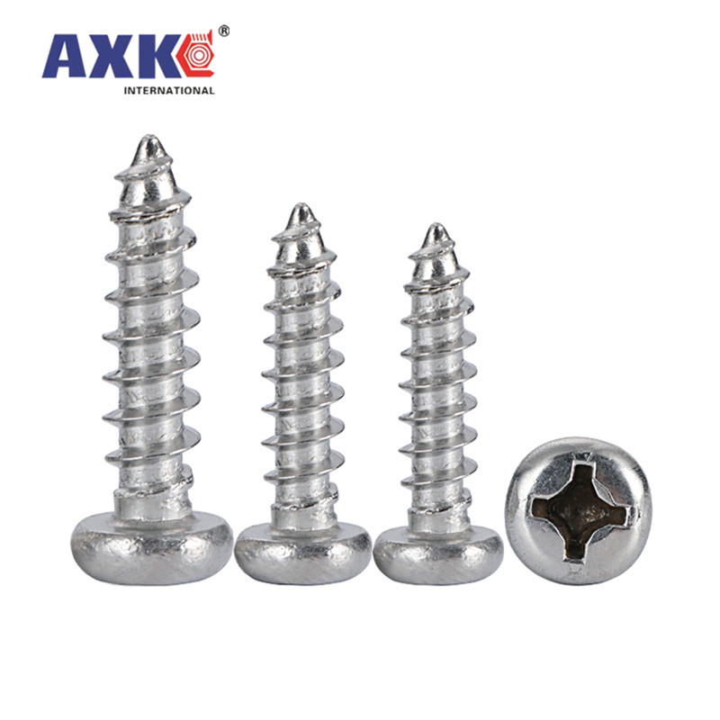 10/50pcs M3.5 M3.9 M4.2 M4.8 M5.5 M6.3 304 A2-70 stainless steel Cross Phillips Pan Round Head Self tapping Furniture Wood Screw